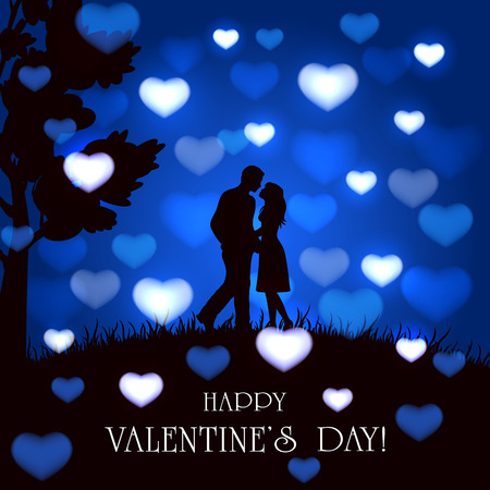 enamored: Silhouette of two enamored on blue Valentines background with blurry hearts, butterflies and tree, illustration. Illustration