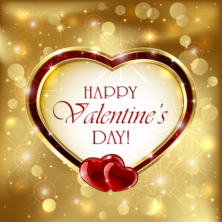 red gold: Golden sparkling valentines background with red hearts, illustration.