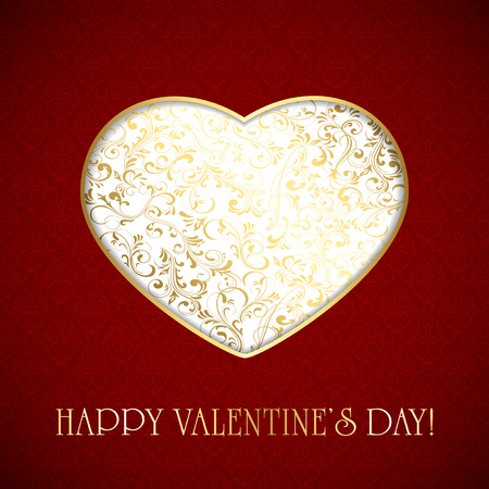 st valentin's day: Valentines card with golden heart from ornate elements on red background. Illustration