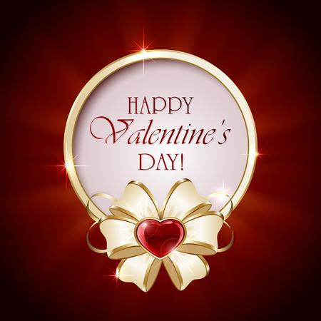 valentines background: Valentines background with round banner, red heart and ribbon, illustration. Illustration