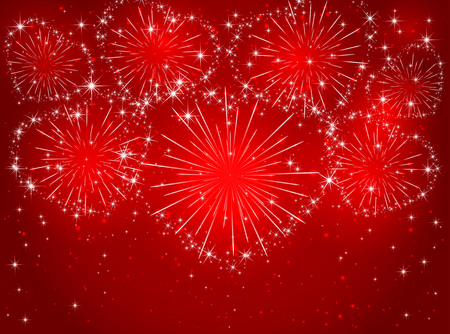 Valentines sparkling fireworks in the form of hearts on red shiny background, illustration.