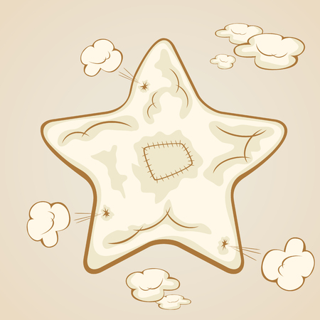 patches: Patches on the inflatable star on a beige background, illustration. Illustration