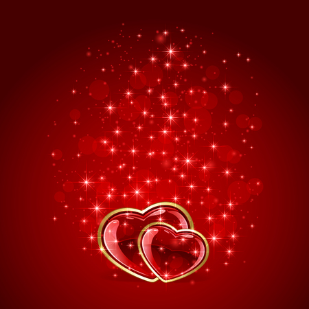 st valentins day: Sparkling Valentines background with two hearts and stars, illustration.