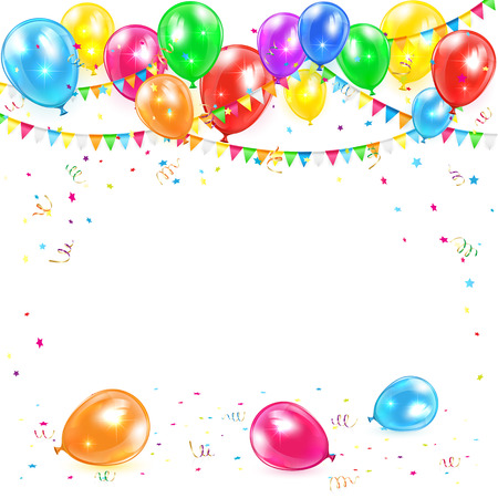tinsel: Holiday background with colorful balloons, pennants, tinsel and confetti, illustration.