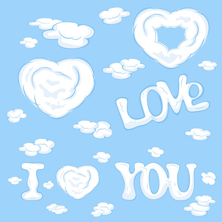 st valentin's day: Hearts from clouds on blue sky background, illustration.