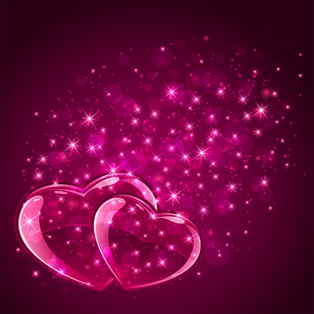 scintillation: Pink Valentines background with hearts and stars, illustration.