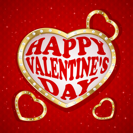 st valentin's day: Valentines heart with diamonds on red background, illustration.