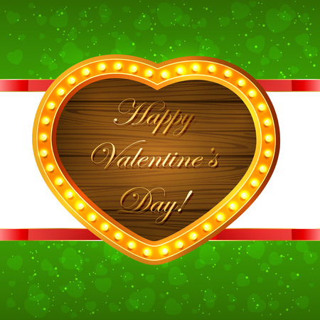 gold star mother's day: Wooden Valentines heart on green sparkling background, illustration. Illustration