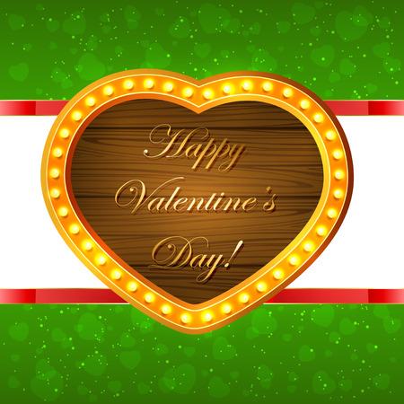 st valentin's day: Wooden Valentines heart on green sparkling background, illustration. Illustration