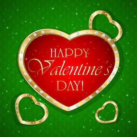 st valentin's day: Valentines heart with diamonds on green background, illustration. Illustration