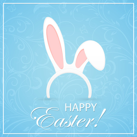 bunny: Easter mask with rabbit ears on blue background with floral elements, illustration. Illustration