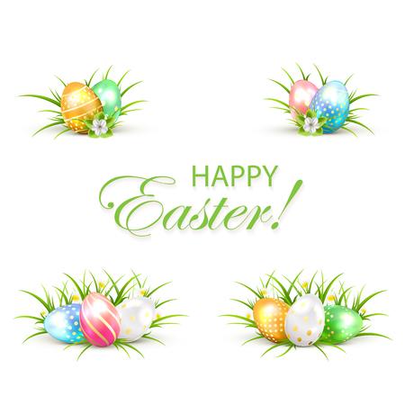 huevos de pascua: Conjunto de los huevos de Pascua con la hierba y flor, ilustración.