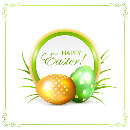 golden eggs: Easter card with green and golden eggs, illustration.