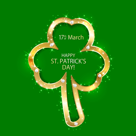 irish culture: Patricks Day background with golden clover, illustration Illustration