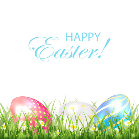 luminosity: Easter background with three colorful eggs in the grass on white background, illustration.