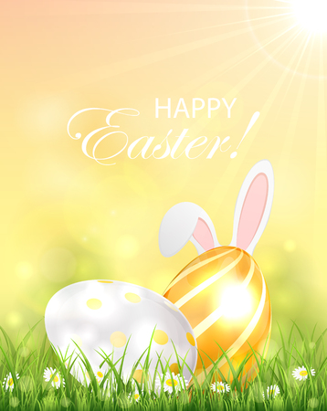 animal ear: Two shiny Easter eggs in the grass and rabbit ears, illustration.