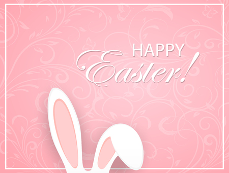 easter background: Pink Easter background with floral elements and rabbit ears, illustration. Illustration