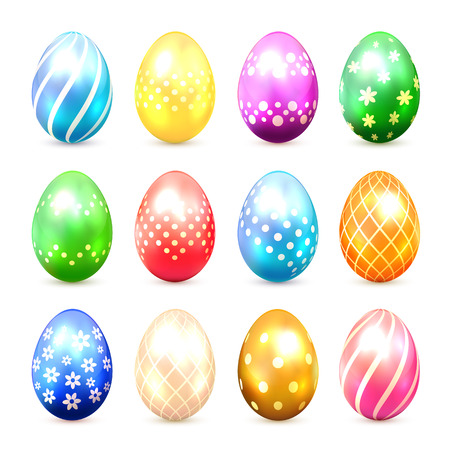 luminosity: Set of multicolored Easter eggs with decorative patterns isolated on white background, illustration. Illustration