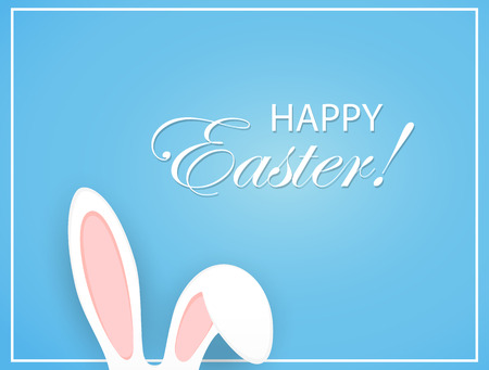 head shape: Happy Easter background with rabbit ears, illustration.
