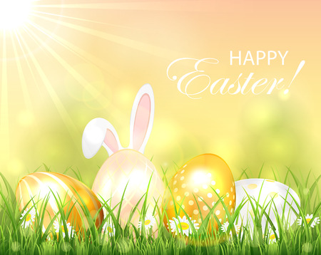 golden eggs: Easter background with golden eggs and rabbit ears in the grass, illustration. Illustration