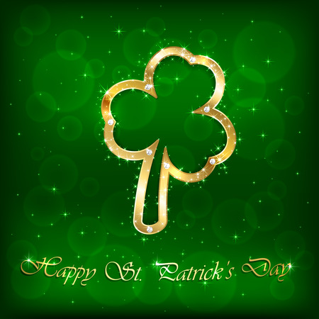 scintillation: Green Patricks Day background with stars and golden clover, illustration