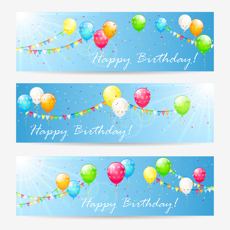 streamers: Birthday cards with holiday balloons, streamers, pennants and confetti, illustration.