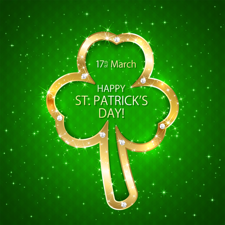 luminescence: Happy Patricks Day green background with golden clover, illustration