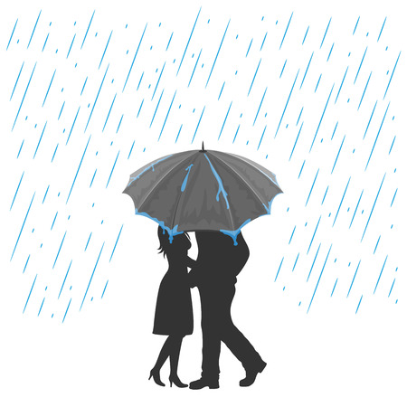 Silhouette of two enamored with umbrella under the rain, illustration.