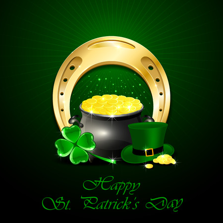 animal st  patricks day: Patricks Day background with green hat of leprechaun, clover, shiny horseshoe and pot of gold, illustration. Illustration