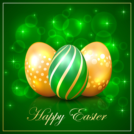 luminosity: Three Easter eggs on green background with frame and stars, illustration.