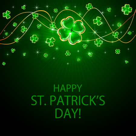 irish culture: Green Patricks Day background with shiny clover, illustration.