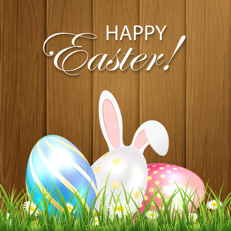 jackrabbit: Easter background with shiny eggs and rabbit ears in the grass on wooden background, illustration. Illustration