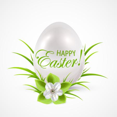 gift season: Easter egg with flower on the grass, illustration.