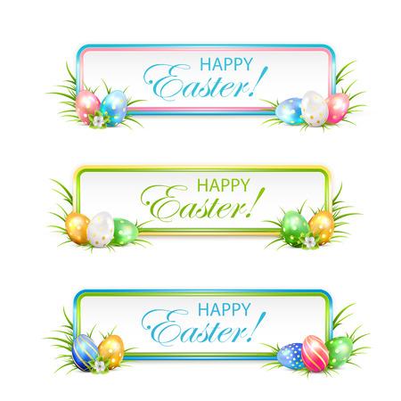 잔디, 그림에서 여러 가지 빛깔 계란 부활절 배너입니다. 일러스트