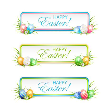 Easter banners with multicolored eggs in a grass, illustration. Vectores