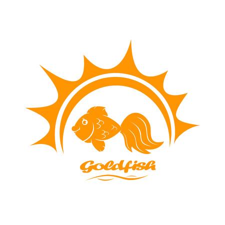 ichthyology: Goldfish and Sun isolated on white background, illustration.
