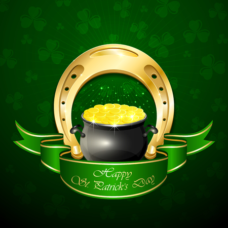 Patricks Day background with shiny horseshoe and pot of leprechauns gold, illustration.