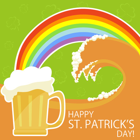irish culture: Patricks day theme with beer and rainbow, illustration Illustration