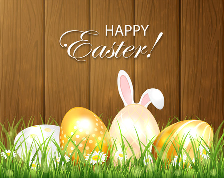 golden eggs: Easter background with golden eggs and rabbit ears in the grass on wooden background, illustration. Illustration