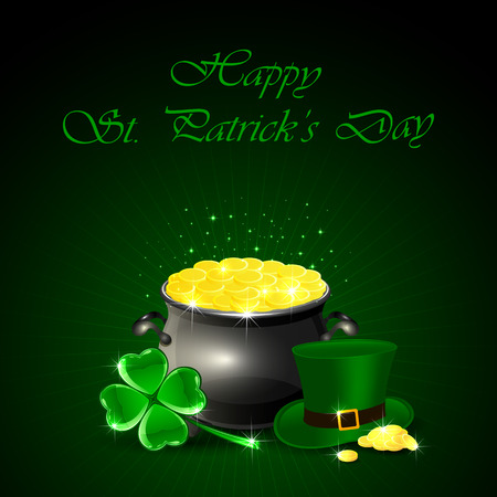 Patrick's Day background with green hat of leprechaun, clover and pot of gold, illustration.