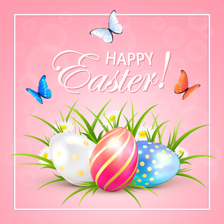 pink floral: Easter eggs and butterflies on pink background, illustration. Illustration