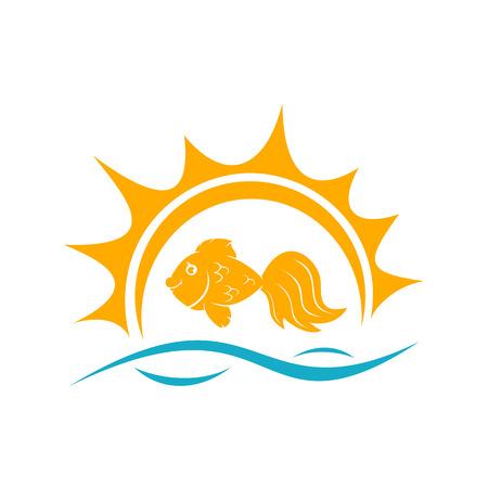 ichthyology: Goldfish and Sun on blue waves isolated on white background, illustration. Illustration