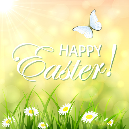 butterfly flying: Abstract Easter background with a butterfly flying above the grass and flowers, bokeh light and sun beams, illustration. Illustration