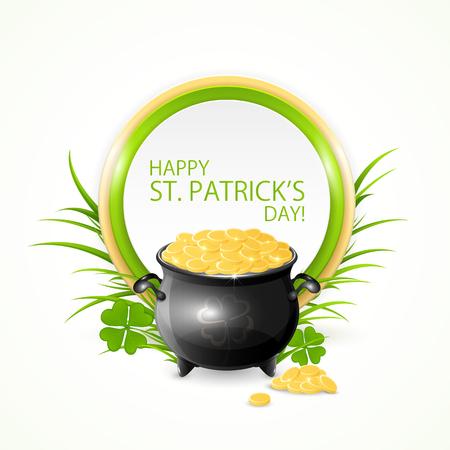 irish culture: Patricks Day card with cauldron of gold leprechaun and clovers, illustration.