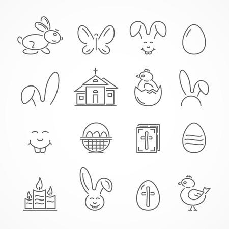 hatchling: Set of Easter icons isolated on white background, illustration.