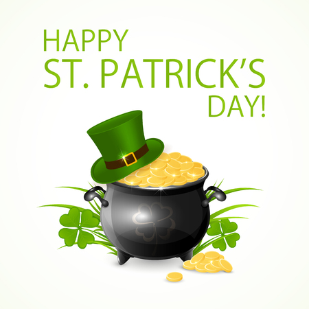 pots: Patricks Day background with clover, green hat of leprechaun and pot of gold, illustration. Illustration