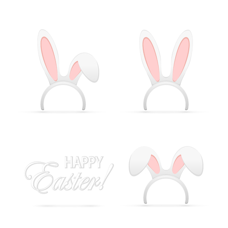 rabbit ears: Set of Easter mask with rabbit ears isolated on white background, illustration. Illustration