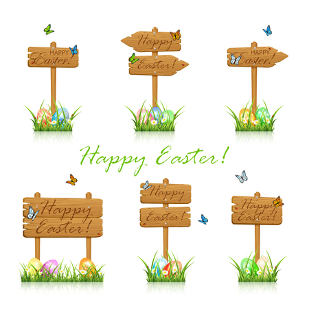 whit: Set of wooden signs with flying butterflies and colorful Easter eggs in the grass isolated on whit background, illustration.