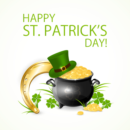 animal st  patricks day: Patricks Day background with green hat of leprechaun, clover and pot of gold, illustration. Illustration