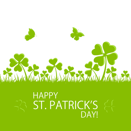 green banner: St. Patricks Day green background with clovers in grass and flying butterfly, illustration.